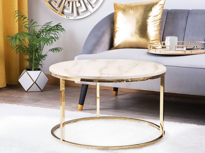 Stolik kawowy biały efekt marmuru złota stalowa rama 43 x 70 cm styl glam