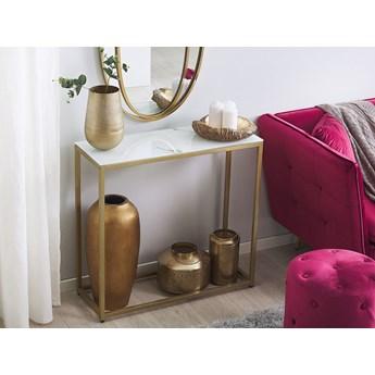 Konsola biały blat efekt marmuru złote metalowe nogi hartowane szkło styl nowoczesny glam salon sypialnia korytarz