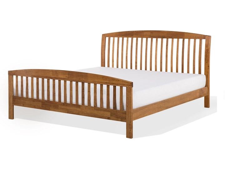 Łóżko ciemne drewniane 160 x 200 cm z ramą stelażem zagłówkiem i zanóżkiem Rozmiar materaca 160x200 cm Łóżko drewniane Kolor Brązowy