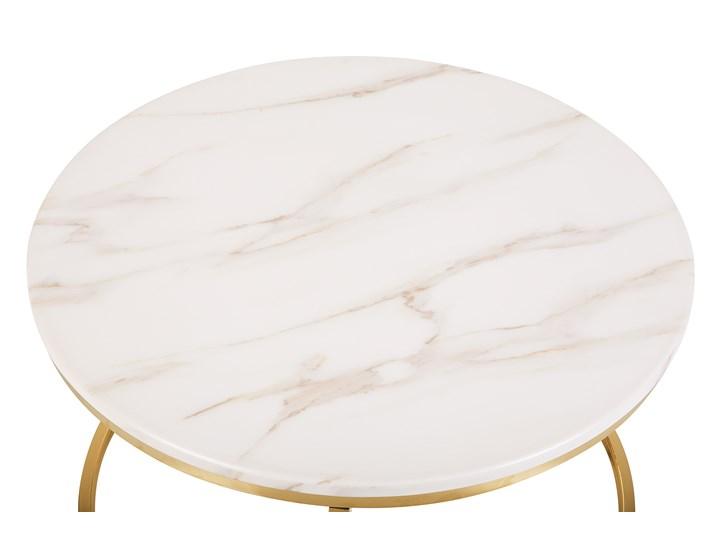 Stolik kawowy biały efekt marmuru złota stalowa rama 43 x 70 cm styl glam Metal Rodzaj nóg Płozy Płyta MDF Styl Nowoczesny