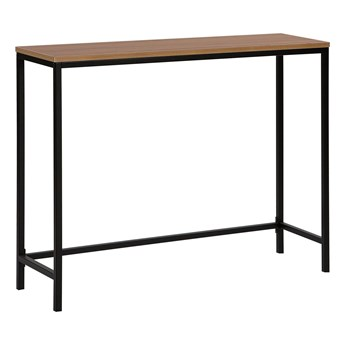 Konsola blat ciemne drewno czarne nogi 100 x 30 cm styl industrialny salon korytarz
