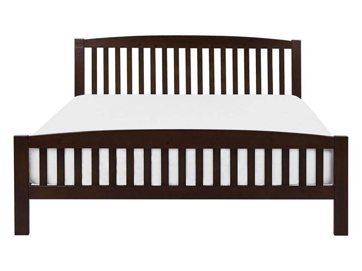Łóżko ciemne drewniane 160 x 200 cm z ramą stelażem zagłówkiem i zanóżkiem Łóżko drewniane Rozmiar materaca 160x200 cm