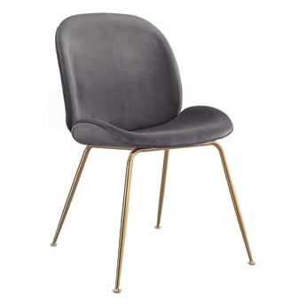 Krzesło Glamour S-0728 na złotych nogach, ciemny szary #21