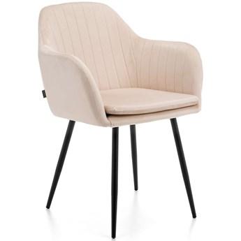 Krzesło tapicerowane 8174 / Welur Beż, nogi czarne