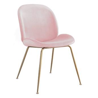 Krzesło Glamour • S-0728 • Różowy welur #39, złote nóżki