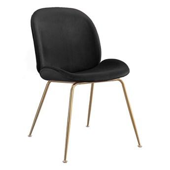 Krzesło Glamour czarne • S-0728 • welur #66 złote nogi