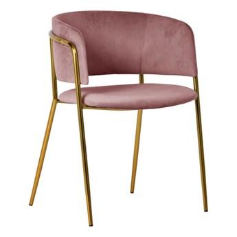 Krzesło Evia różowe/złote nogi