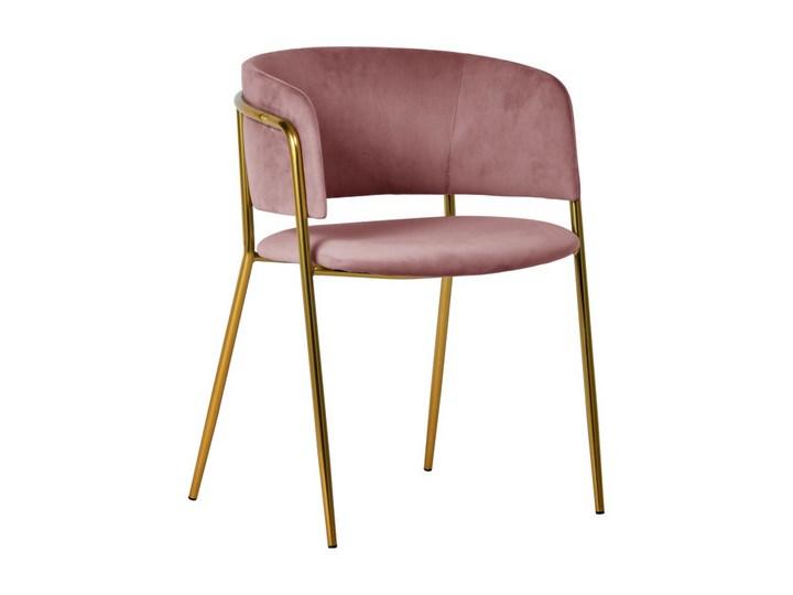 Krzesło Evia różowe/złote nogi Tkanina Tapicerowane Kolor Różowy