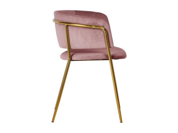 Krzesło Evia różowe/złote nogi Tapicerowane Tkanina Kolor Różowy