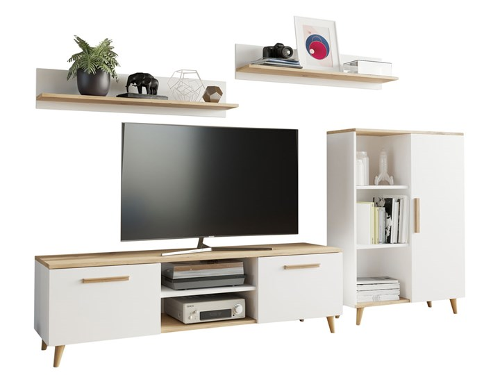 Biała meblościanka w stylu skandynawskim - Pura 2X Kolor Biały Kategoria Zestawy mebli do sypialni