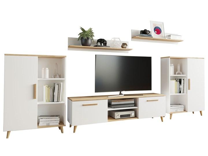 Biała meblościanka w stylu skandynawskim - Pura 3X Kategoria Zestawy mebli do sypialni Kolor Biały