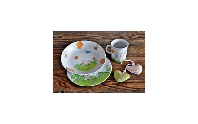 Porcelanowy Zestaw Obiadowy Dla Dzieci Krówka Naczynia Dla