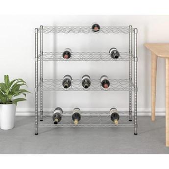 VidaXL 4-piętrowy stojak na 36 butelek wina, chromowane żelazo