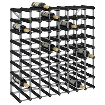VidaXL Stojak na 72 butelki wina, czarny, lite drewno sosnowe