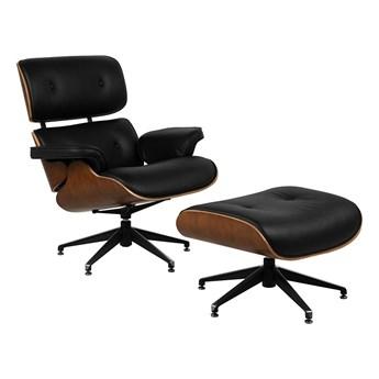Skórzany fotel obrotowy z podnóżkiem Lounge Chair & Ottoman X040