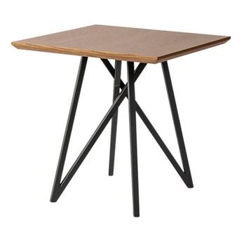 Stolik kawowy drewniany blat stalowe czarne nogi 55x55 cm TA851S