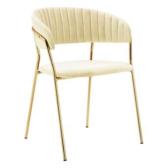 Krzesło złote nogi / beż aksamit MARGO