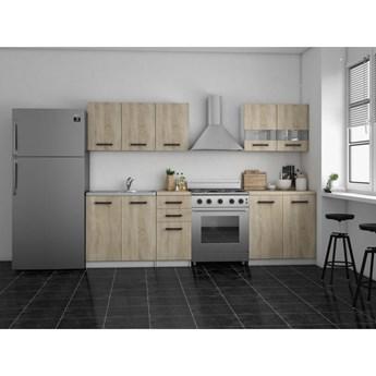 Zestaw mebli kuchennych z blatem sonoma SET200 biały mat/dąb sonoma - Meb24.pl