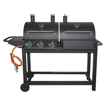 Czarny grill na gaz i węgiel drzewny Cattara Duet