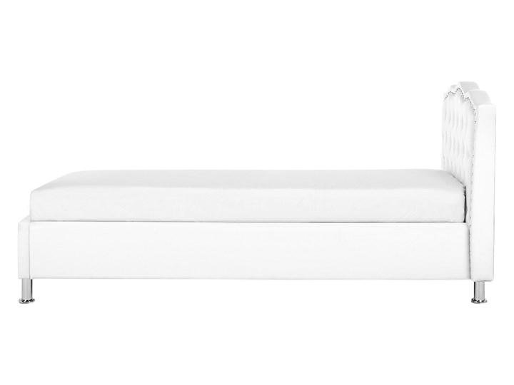 Łóżko białe ekoskóra 90 x 200 cm z pojemnikiem i stelażem ozdobne wezgłowie z kryształkami i ćwiekami Łóżko tapicerowane Kolor Biały Kategoria Łóżka do sypialni