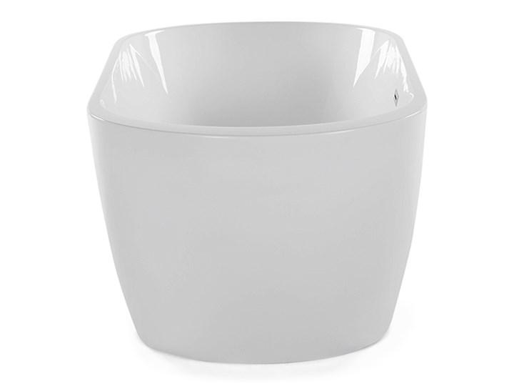 Wanna wolnostojąca biała akrylowa 160 x 75 cm system przelewowy owalna retro Wolnostojące Kolor Biały Kategoria Wanny