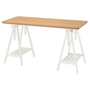 IKEA ANFALLARE / MITTBACK Biurko, Bambus biały, 140x65 cm
