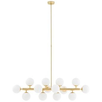 CUMULUS 1 lampa wisząca 14 x 9W LED E14 (złoty / biały) design szklane białe kule złota prosta nowoczesna  KASPA 10752145