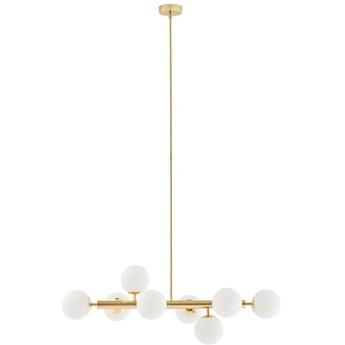 CUMULUS 2 lampa wisząca 8 x 9W LED E14 (złoty / biały) design szklane białe kule prosta złota nowoczesna  KASPA 10754805