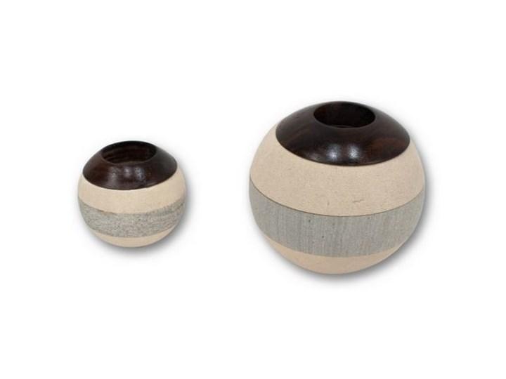 Komplet 2 świeczników Kulki  BALL COMBINATION Ceramika Drewno Kategoria Świeczniki i świece