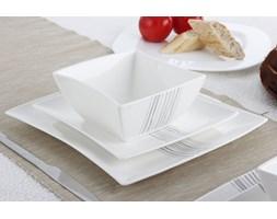 Serwis obiadowy kwadratowy DUO SILVER LINE na 6 osób (18 el.) -- biały