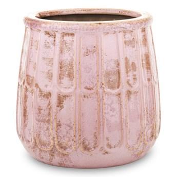 Donica ceramiczna różowa patynowana IZA  18x17x17cm