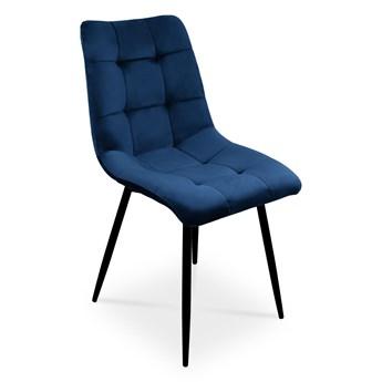 Bettso Zestaw 4 krzeseł BEN do nowoczesnej jadalni -  granatowy / noga czarna
