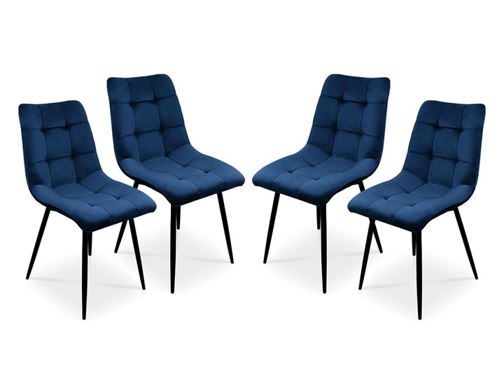 Bettso Zestaw krzeseł BEN do nowoczesnej jadalni - granatowy / noga czarna
