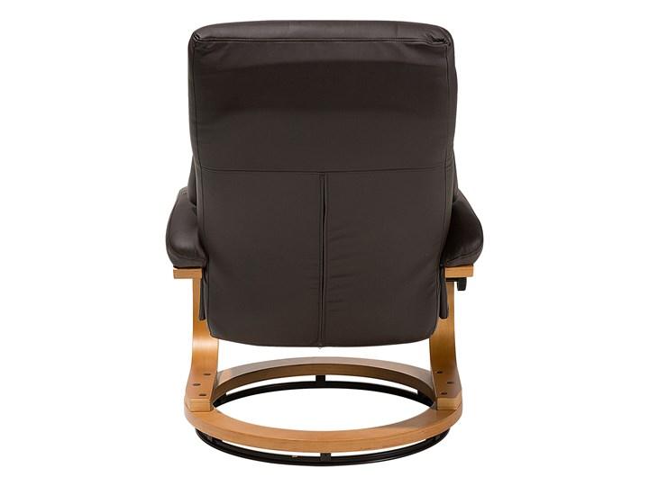 Fotel wypoczynkowy podgrzewany z masażem i podnóżkiem brązowy ekoskóra drewniana rama odchylane oparcie Fotel masujący Pomieszczenie Salon Tworzywo sztuczne Drewno Tkanina Skóra ekologiczna Kolor Czarny