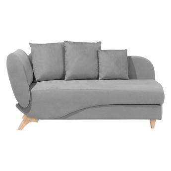 Szezlong lewostronny rozkładany jasnoszary welurowy z pojemnikiem i podłokietnikiem 3 dekoracyjne poduszki styl skandynawski