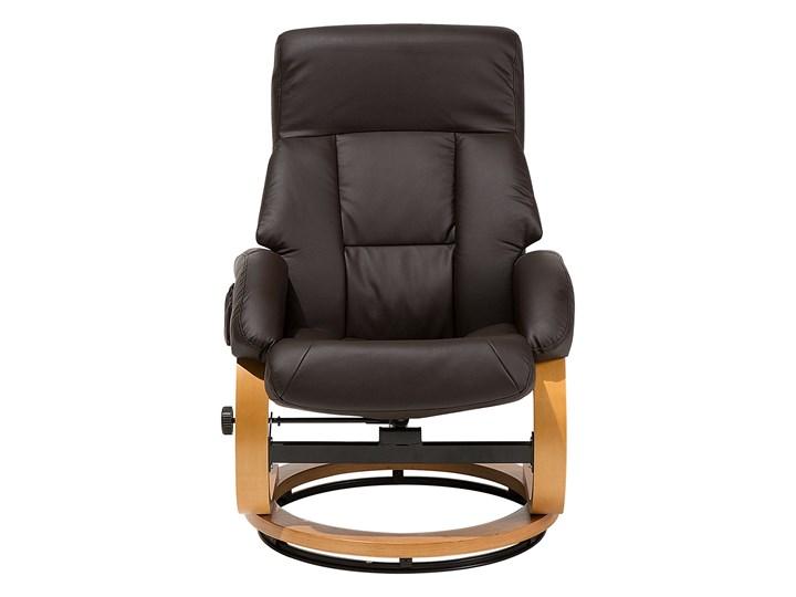 Fotel wypoczynkowy podgrzewany z masażem i podnóżkiem brązowy ekoskóra drewniana rama odchylane oparcie Skóra ekologiczna Fotel masujący Drewno Tkanina Tworzywo sztuczne Kategoria Fotele do salonu
