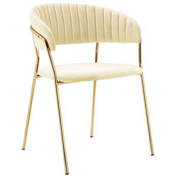 Beżowe krzesło tapicerowane w stylu glamour - Piano 2X