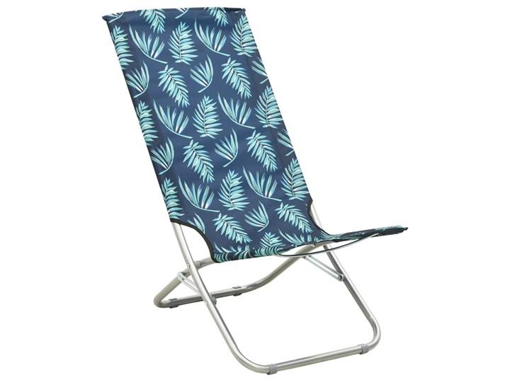 vidaXL Składane krzesła plażowe, 2 szt., wzór w liście, obite tkaniną Krzesło składane Drewno Metal Krzesło turystyczne Kategoria Krzesła ogrodowe