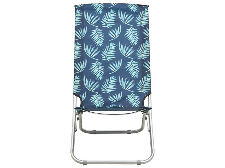 vidaXL Składane krzesła plażowe, 2 szt., wzór w liście, obite tkaniną Krzesło turystyczne Drewno Kolor Granatowy Krzesło składane Metal Kategoria Krzesła ogrodowe