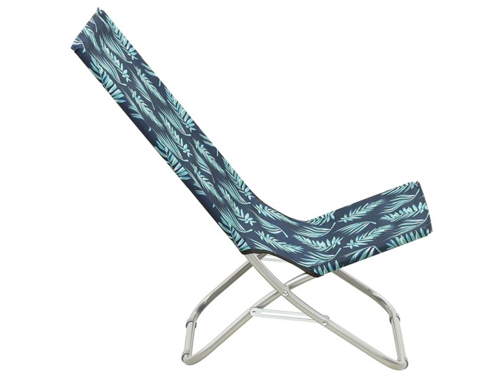 vidaXL Składane krzesła plażowe, 2 szt., wzór w liście, obite tkaniną Krzesło składane Drewno Kolor Granatowy Krzesło turystyczne Metal Kategoria Krzesła ogrodowe