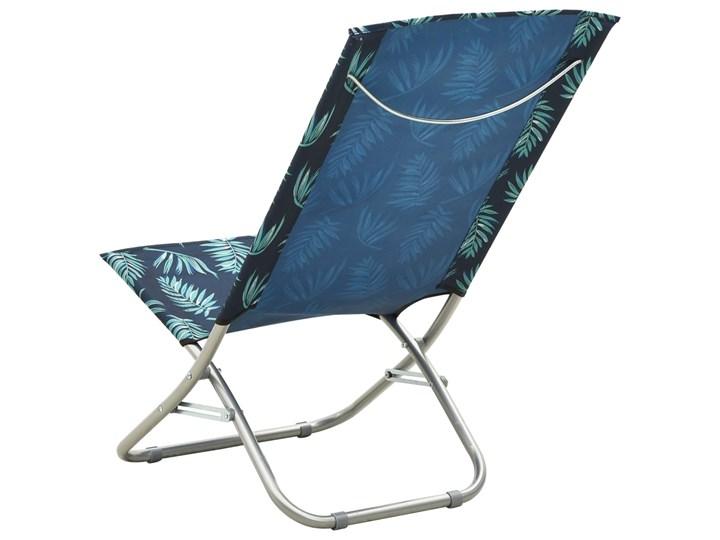 vidaXL Składane krzesła plażowe, 2 szt., wzór w liście, obite tkaniną Metal Krzesło turystyczne Drewno Kategoria Krzesła ogrodowe Krzesło składane Kolor Granatowy