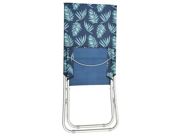 vidaXL Składane krzesła plażowe, 2 szt., wzór w liście, obite tkaniną Metal Drewno Krzesło składane Krzesło turystyczne Kolor Granatowy