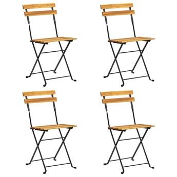 vidaXL Składane krzesła bistro, 4 szt., lite drewno akacjowe