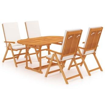 vidaXL 5-cz. zestaw mebli ogrodowych, z poduszkami, drewno tekowe