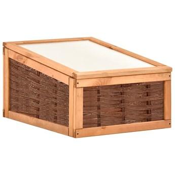vidaXL Inspekt, 60x80x45 cm, lite drewno sosnowe i wiklina