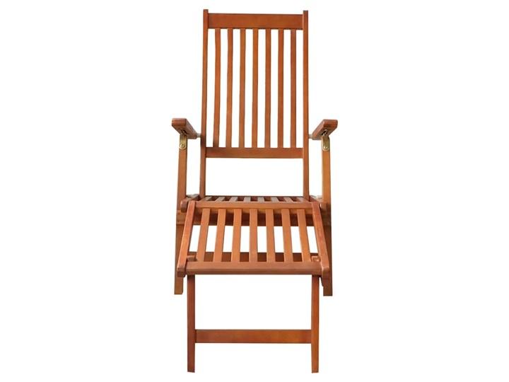 vidaXL Leżak tarasowy z podnóżkiem i poduszką, lite drewno akacjowe Styl Rustykalny Kategoria Leżaki ogrodowe