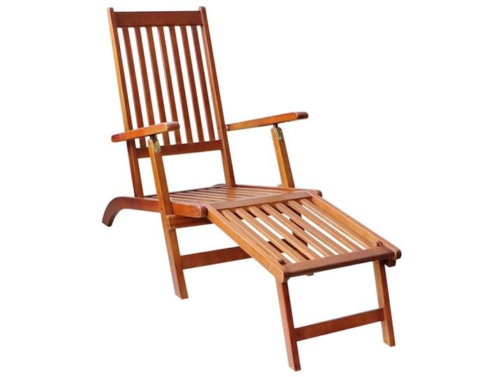 vidaXL Leżak tarasowy z podnóżkiem i poduszką, lite drewno akacjowe Kategoria Leżaki ogrodowe Styl Rustykalny