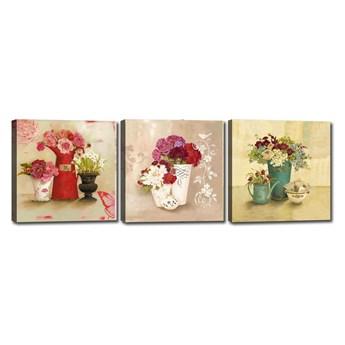 Zestaw 3 obrazów Tablo Center Flower Vases