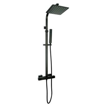 Zestaw Natryskowy Prysznicowy Termostatyczny z Deszczownicą AQUASLIM Czarny