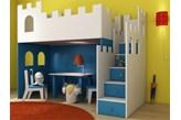 Łóżko - antresola dla dzieci - BabyBest - Zamek ze schodkami (200 x 90 cm)